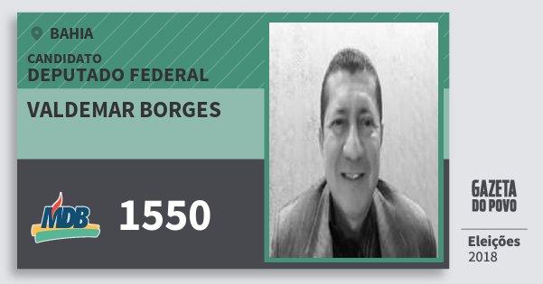 Santinho Valdemar Borges 1550 (MDB) Deputado Federal | Bahia | Eleições 2018