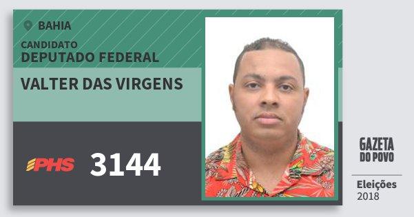 Santinho Valter das Virgens 3144 (PHS) Deputado Federal | Bahia | Eleições 2018