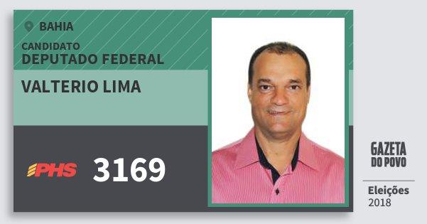 Santinho Valterio Lima 3169 (PHS) Deputado Federal | Bahia | Eleições 2018