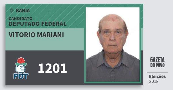Santinho Vitorio Mariani 1201 (PDT) Deputado Federal | Bahia | Eleições 2018