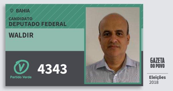 Santinho Waldir 4343 (PV) Deputado Federal | Bahia | Eleições 2018