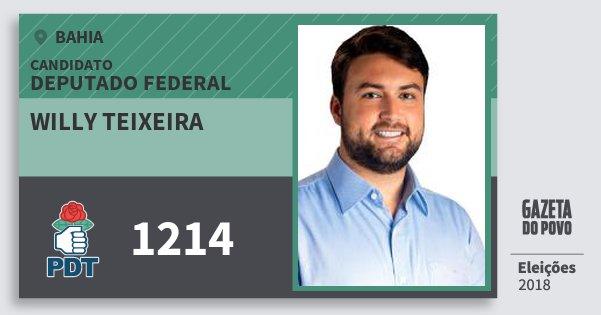 Santinho Willy Teixeira 1214 (PDT) Deputado Federal | Bahia | Eleições 2018