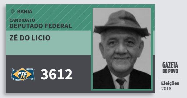Santinho Zé do Licio 3612 (PTC) Deputado Federal | Bahia | Eleições 2018