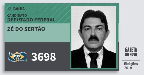 Santinho Zé do Sertão 3698 (PTC) Deputado Federal | Bahia | Eleições 2018