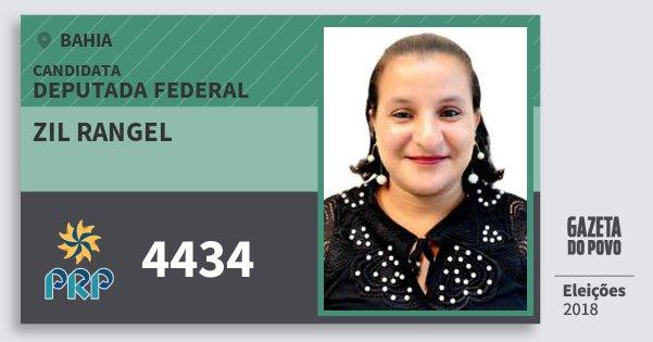 Santinho Zil Rangel 4434 (PRP) Deputada Federal | Bahia | Eleições 2018