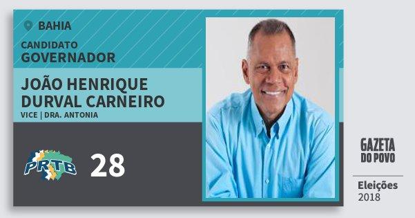 Santinho João Henrique Durval Carneiro 28 (PRTB) Governador | Bahia | Eleições 2018
