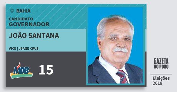 Santinho João Santana 15 (MDB) Governador | Bahia | Eleições 2018