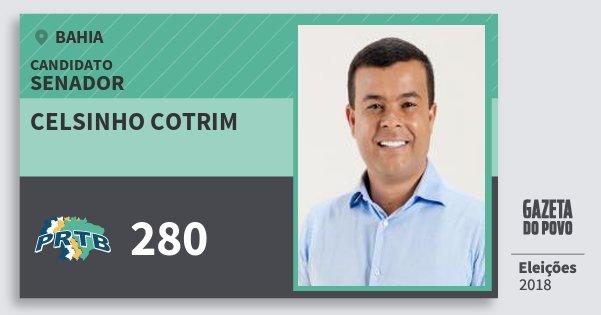 Santinho Celsinho Cotrim 280 (PRTB) Senador | Bahia | Eleições 2018