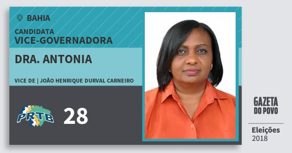 Santinho Dra. Antonia 28 (PRTB) Vice-Governadora | Bahia | Eleições 2018