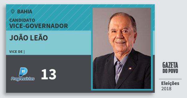 Santinho João Leão 13 (PP) Vice-governador | Bahia | Eleições 2018