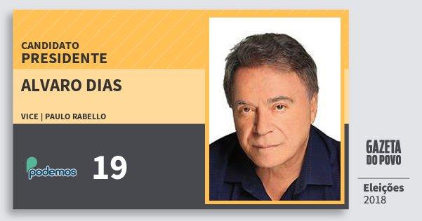 Santinho Alvaro Dias 19 (PODE) Presidente | Brasil | Eleições 2018