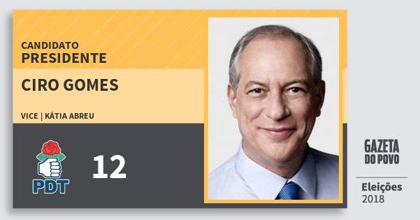 Santinho Ciro Gomes 12 (PDT) Presidente | Brasil | Eleições 2018