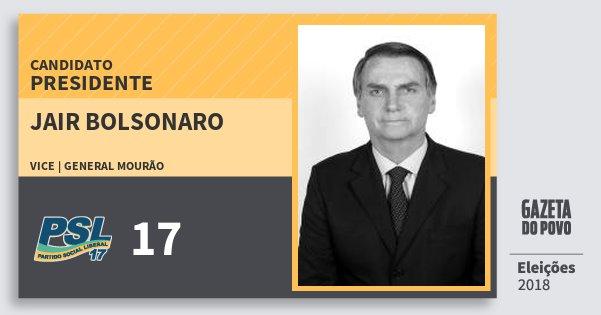 Santinho Jair Bolsonaro 17 (PSL) Presidente | Brasil | Eleições 2018