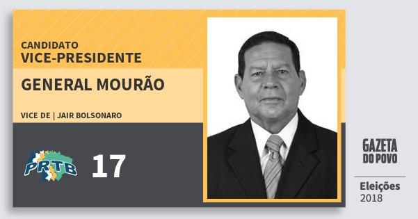 Santinho General Mourão 17 (PRTB) Vice-presidente | Brasil | Eleições 2018