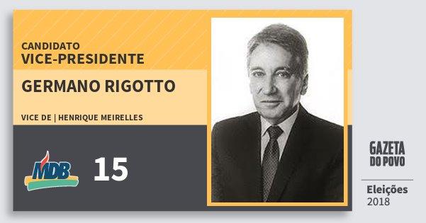 Santinho Germano Rigotto 15 (MDB) Vice-presidente | Brasil | Eleições 2018