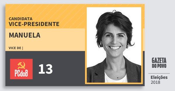 Santinho Manuela 13 (PC do B) Vice-Presidente | Brasil | Eleições 2018