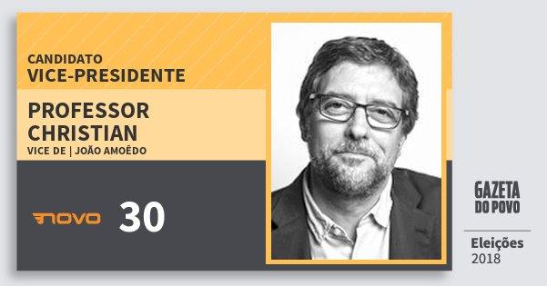 Santinho Professor Christian 30 (NOVO) Vice-presidente | Brasil | Eleições 2018