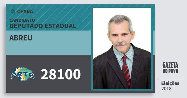 Santinho Abreu 28100 (PRTB) Deputado Estadual | Ceará | Eleições 2018