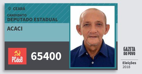 Santinho Acaci 65400 (PC do B) Deputado Estadual | Ceará | Eleições 2018