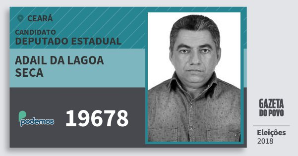Santinho Adail da Lagoa Seca 19678 (PODE) Deputado Estadual | Ceará | Eleições 2018
