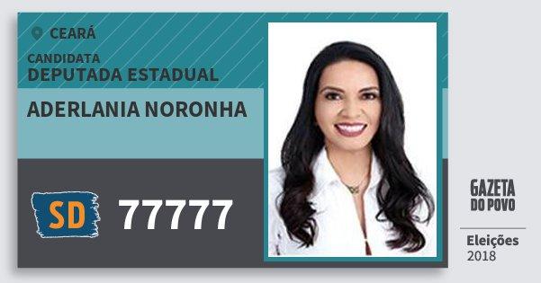 Santinho Aderlania Noronha 77777 (SOLIDARIEDADE) Deputada Estadual | Ceará | Eleições 2018