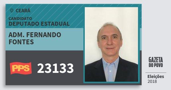 Santinho Adm. Fernando Fontes 23133 (PPS) Deputado Estadual | Ceará | Eleições 2018