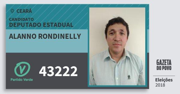 Santinho Alanno Rondinelly 43222 (PV) Deputado Estadual | Ceará | Eleições 2018