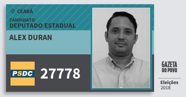 Santinho Alex Duran 27778 (DC) Deputado Estadual | Ceará | Eleições 2018