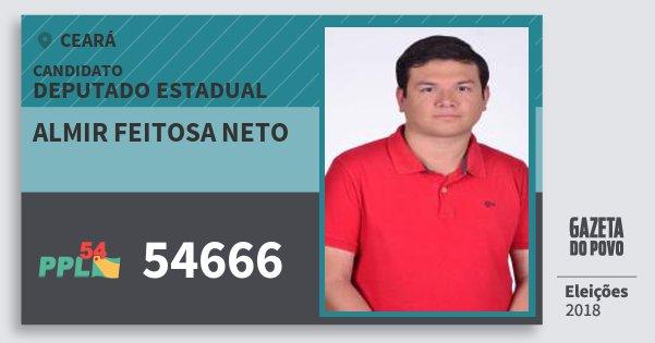 Santinho Almir Feitosa Neto 54666 (PPL) Deputado Estadual | Ceará | Eleições 2018