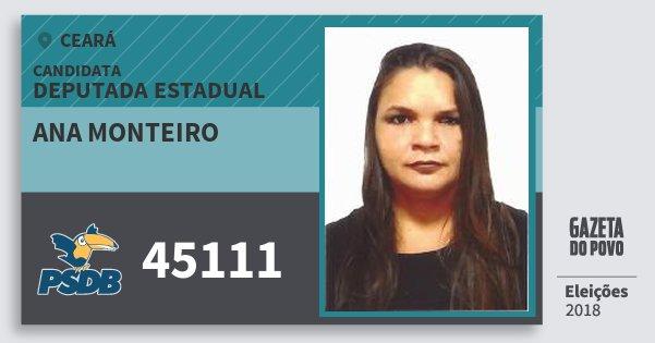 Santinho Ana Monteiro 45111 (PSDB) Deputada Estadual | Ceará | Eleições 2018