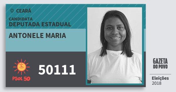 Santinho Antonele Maria 50111 (PSOL) Deputada Estadual   Ceará   Eleições 2018
