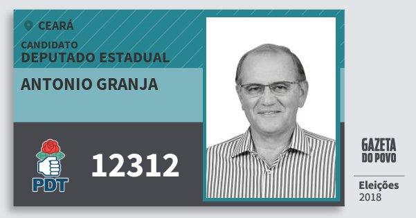 Santinho Antonio Granja 12312 (PDT) Deputado Estadual | Ceará | Eleições 2018