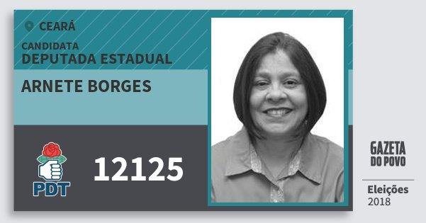 Santinho Arnete Borges 12125 (PDT) Deputada Estadual | Ceará | Eleições 2018