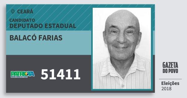 Santinho Balacó Farias 51411 (PATRI) Deputado Estadual | Ceará | Eleições 2018