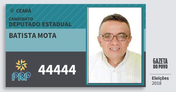 Santinho Batista Mota 44444 (PRP) Deputado Estadual | Ceará | Eleições 2018