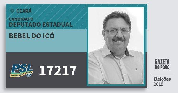 Santinho Bebel do Icó 17217 (PSL) Deputado Estadual | Ceará | Eleições 2018