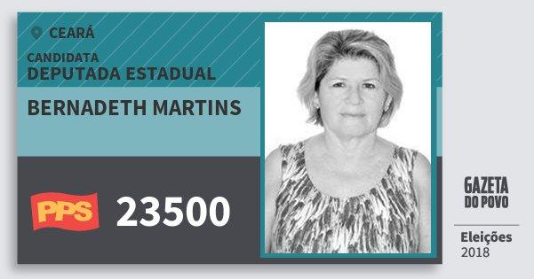Santinho Bernadeth Martins 23500 (PPS) Deputada Estadual | Ceará | Eleições 2018