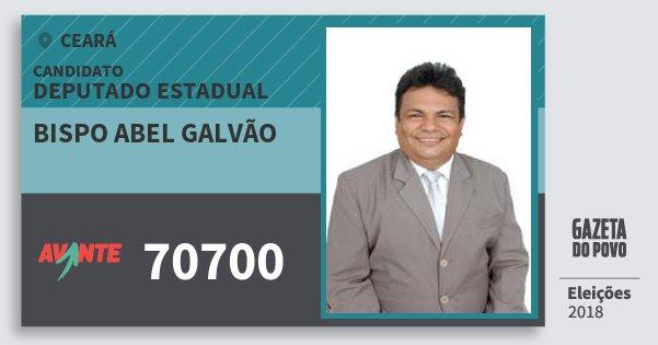 Santinho Bispo Abel Galvão 70700 (AVANTE) Deputado Estadual | Ceará | Eleições 2018