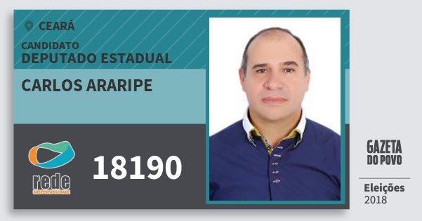 Santinho Carlos Araripe 18190 (REDE) Deputado Estadual | Ceará | Eleições 2018
