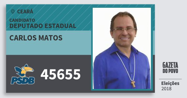 Santinho Carlos Matos 45655 (PSDB) Deputado Estadual | Ceará | Eleições 2018