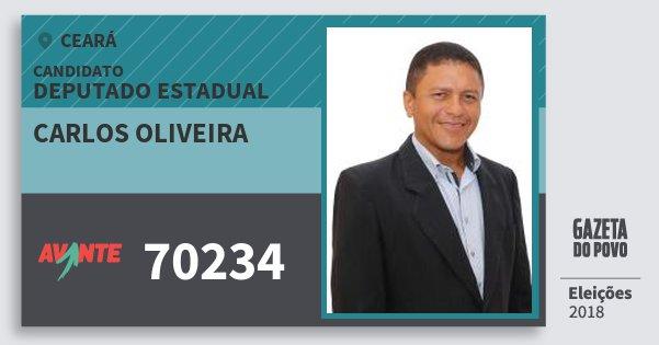 Santinho Carlos Oliveira 70234 (AVANTE) Deputado Estadual | Ceará | Eleições 2018