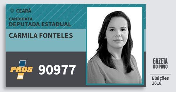 Santinho Carmila Fonteles 90977 (PROS) Deputada Estadual | Ceará | Eleições 2018
