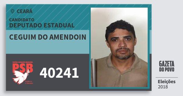Santinho Ceguim do Amendoin 40241 (PSB) Deputado Estadual | Ceará | Eleições 2018