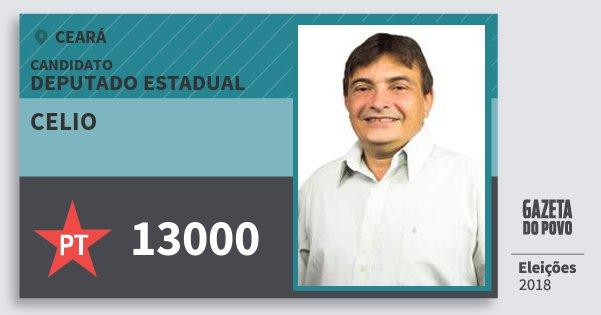 Santinho Celio 13000 (PT) Deputado Estadual | Ceará | Eleições 2018