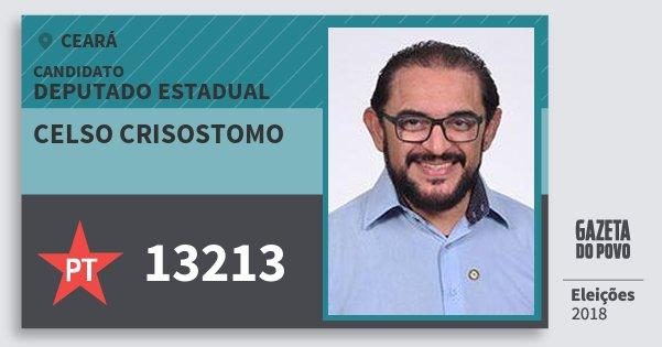 Santinho Celso Crisostomo 13213 (PT) Deputado Estadual | Ceará | Eleições 2018