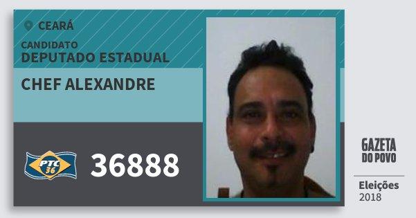 Santinho Chef Alexandre 36888 (PTC) Deputado Estadual | Ceará | Eleições 2018