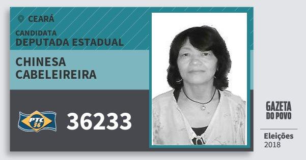 Santinho Chinesa Cabeleireira 36233 (PTC) Deputada Estadual | Ceará | Eleições 2018