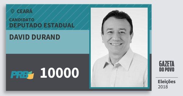 Santinho David Durand 10000 (PRB) Deputado Estadual | Ceará | Eleições 2018