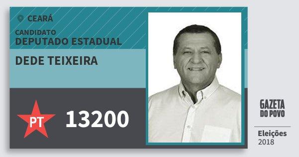 Santinho Dede Teixeira 13200 (PT) Deputado Estadual | Ceará | Eleições 2018