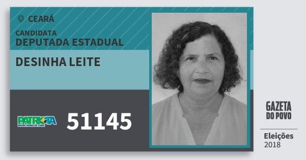 Santinho Desinha Leite 51145 (PATRI) Deputada Estadual   Ceará   Eleições 2018